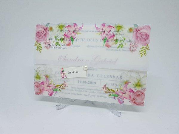 Convite vegetal casamento rosa