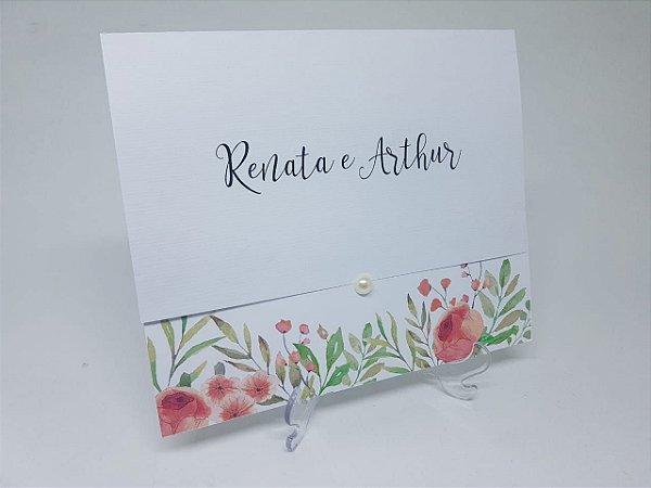 Convite barato casamento floral