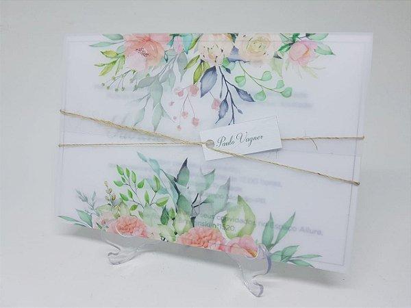 Convite casamento vegetal folhas e flores