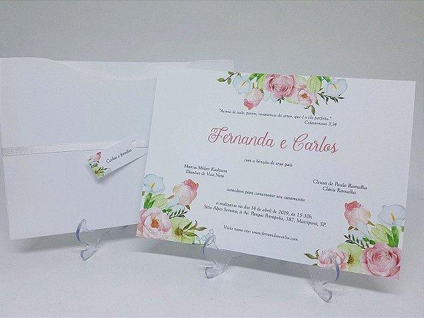 Convite rosa e verde floral