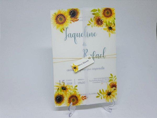Convite casamento girassol papel vegetal