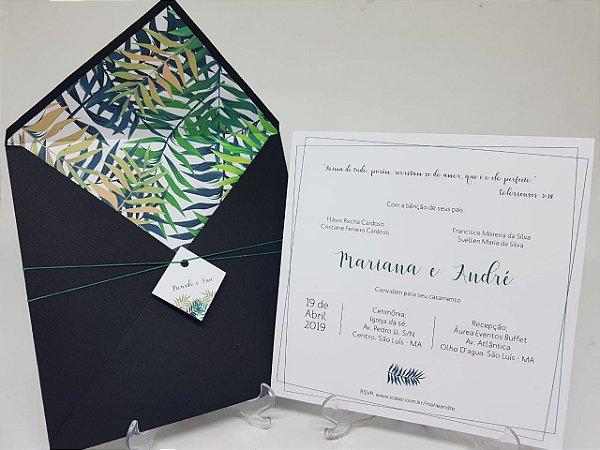 Convite folhagens envelope preto