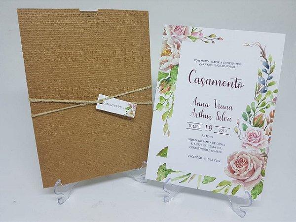 Convite de casamento coracao digital rustico