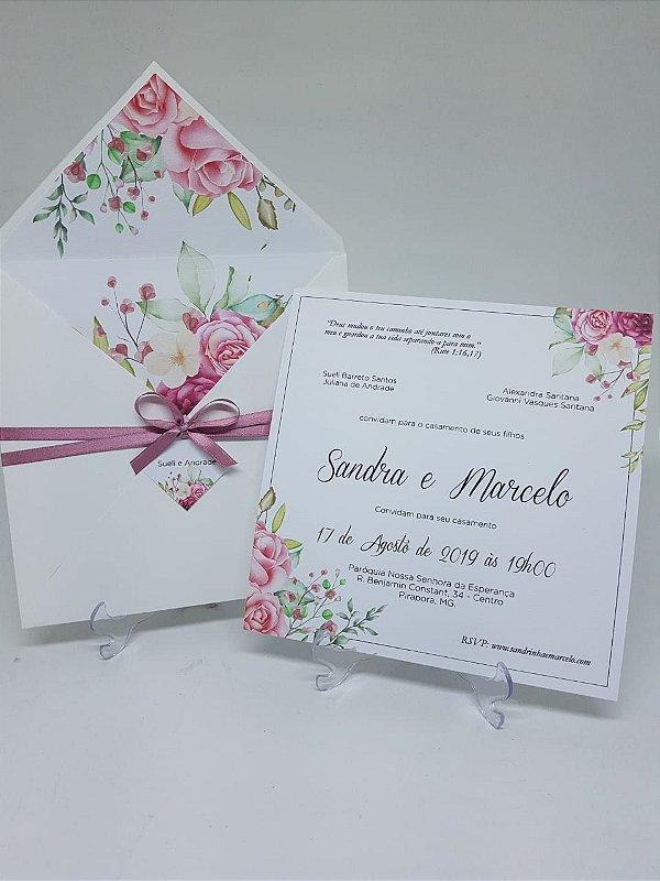 Convite envelope forrado flores