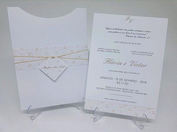 Convite casamento classico branco