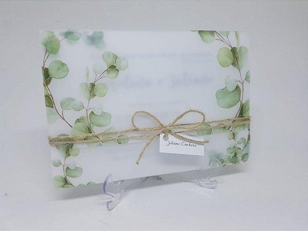 Convite folhagens em papel vegetal