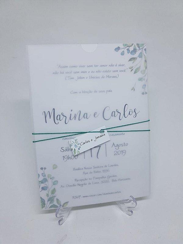 Convite envelope vegetal folhas