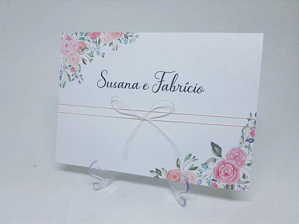 Convite casamento florais rosas