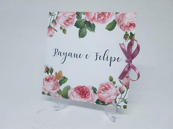 Convite casamento flores rosas