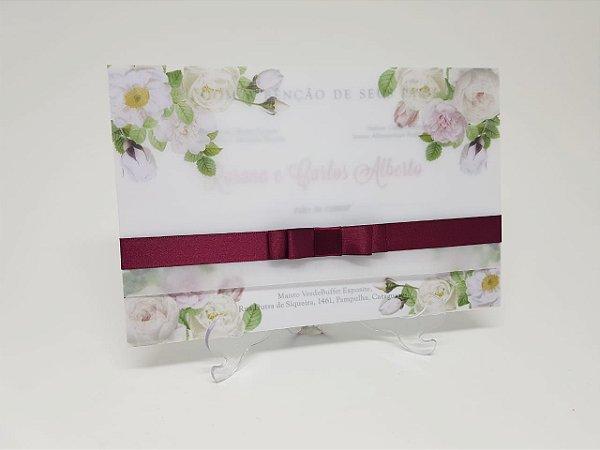 Convite vegetal floral marsala