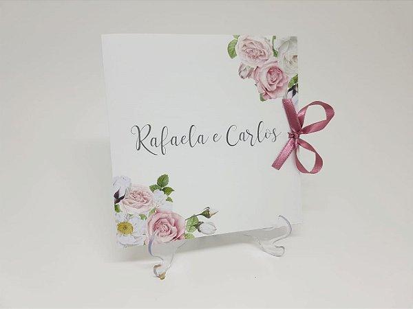 Convite casamento barato floral