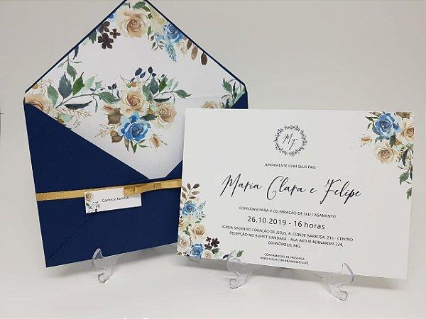 Convite casamento azul com envelope floral