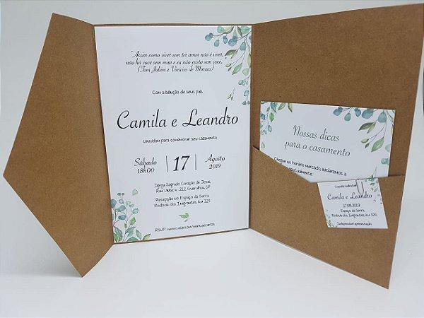 Convite casamento folhas rustico moderno