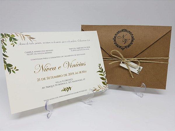Convite casamento rustico folhas