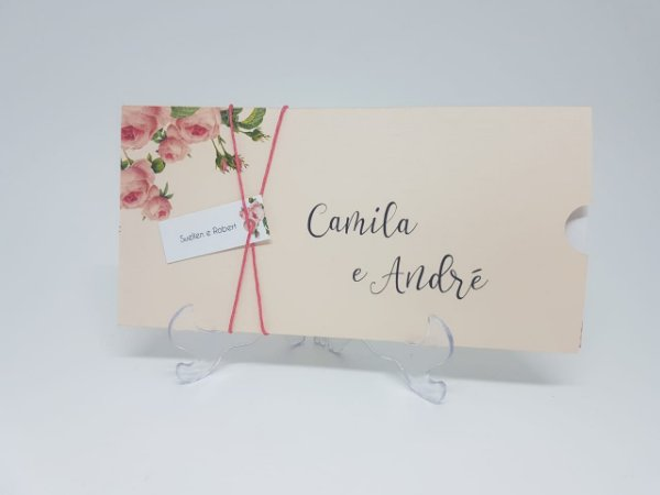 Convite casamento rosê floral luva