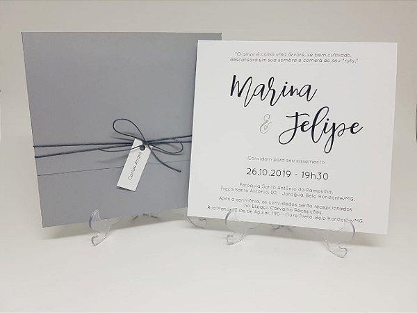 Convite Casamento Cinza e Preto
