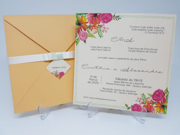 Convite casamento tropical cores