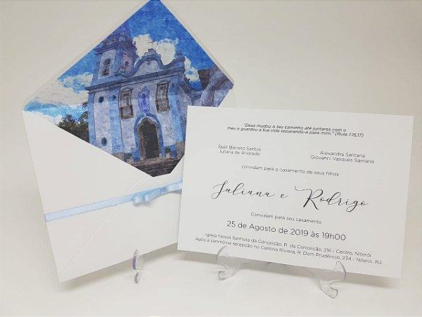 Convite casamento igreja em aquarela