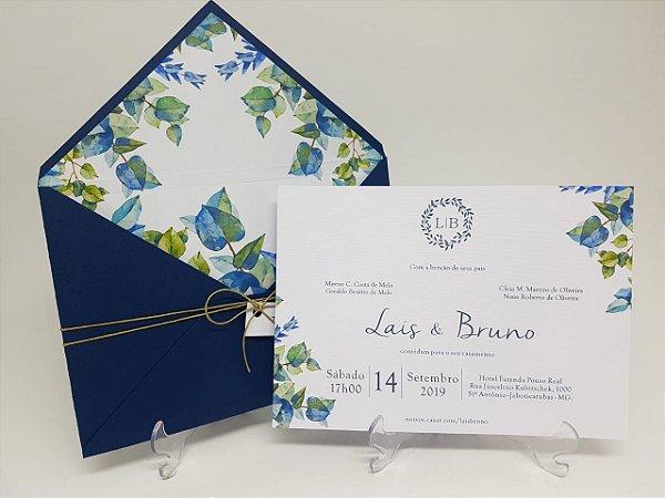 Convite de casamento azul com folhagens