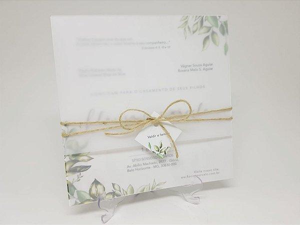 Convite folhgens em papel vegetal e sisal