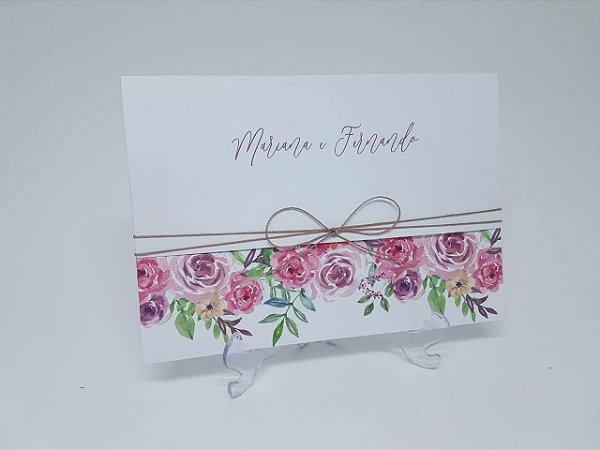 Convite casamento rustico floral rosa