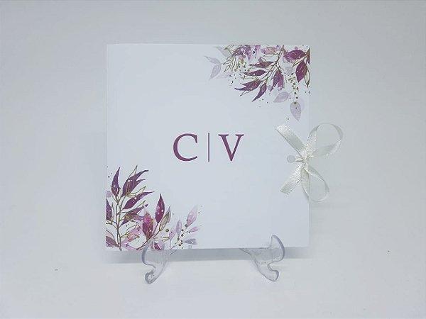 Convite casamento vinho marsala flores