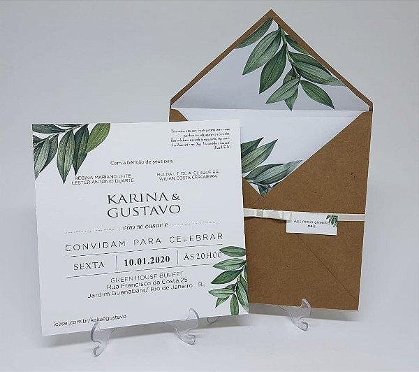 Convite de casamento envelope com folhagens