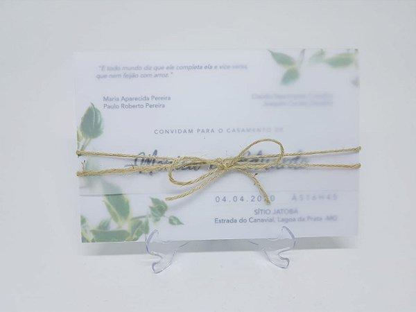 Convite folhagens papel vegetal e sisal