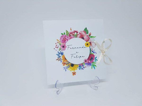 Convite de casamento floral primavera colorido