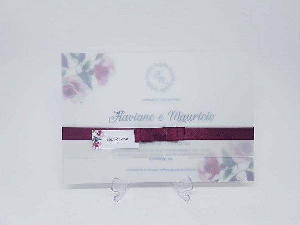 Convite casamento marsala em papel vegetal