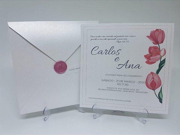 Convite casamento lacre de cera rose com flores