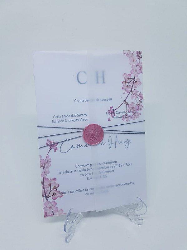 Convite casamento com lacre de cera rosê