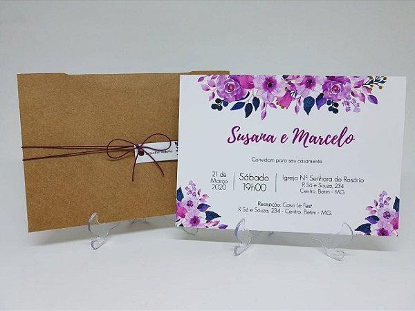 Convite de casamento rústico lilás e roxo