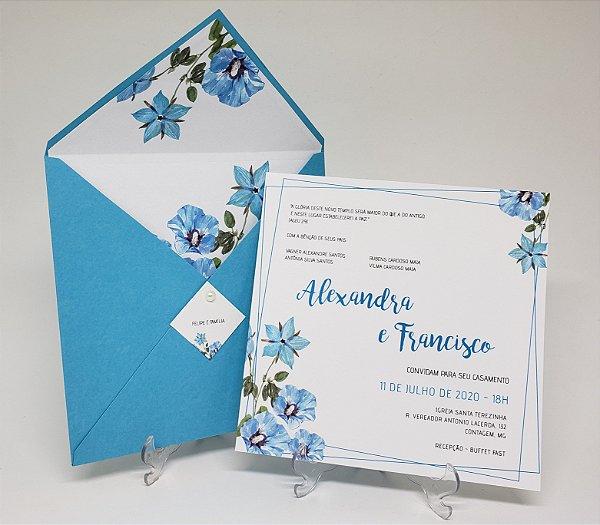 Convite de casamento azul Tiffany forrado flores
