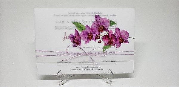 Convite casamento orquidea papel vegetal