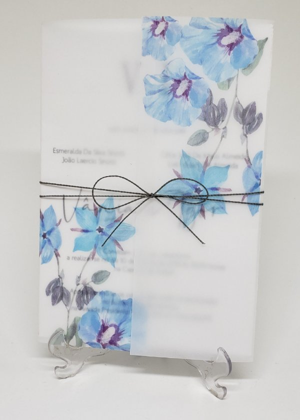 Convite casamento flor azul papel vegetal