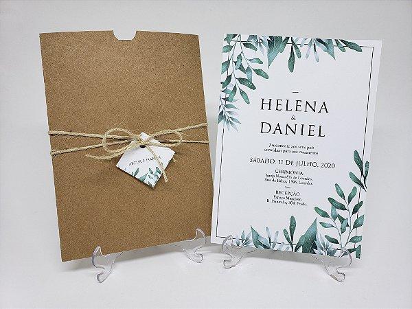 Convite de casamento rustico ramos e folhas