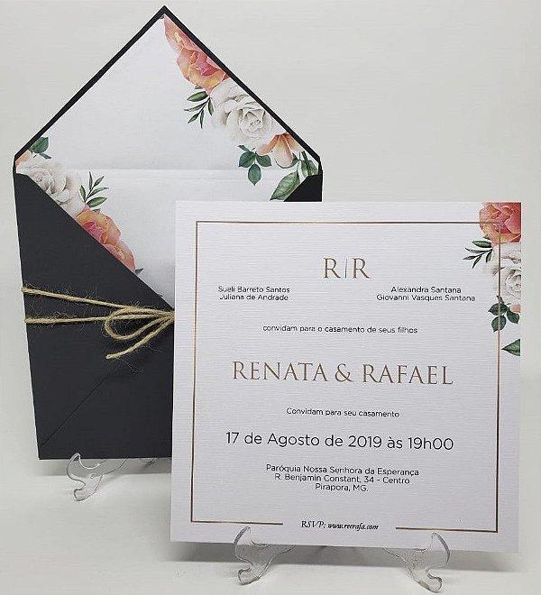 Convite de casamento cinza floral envelope forrado