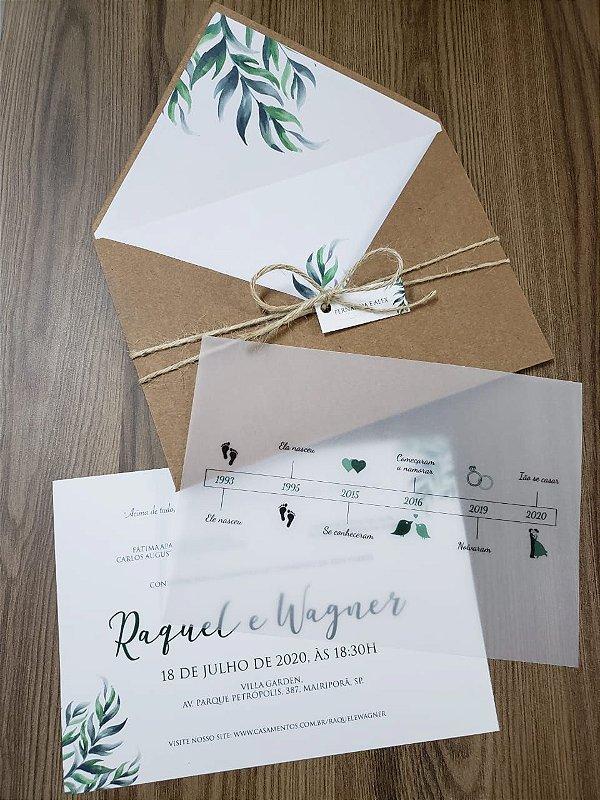 Convite de casamento folhas papel vegetal