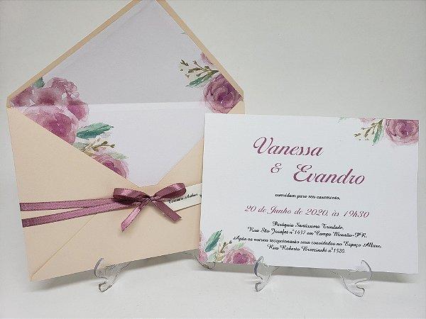 Convite de Casamento flores envelope revestido forrado