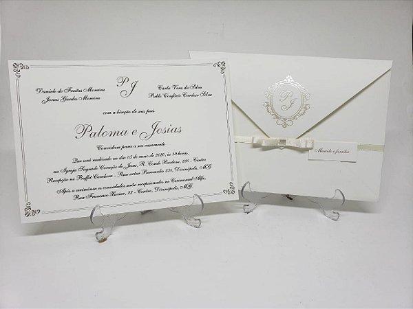 Convite casamento classico pérola brasao metalizado