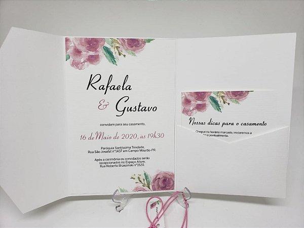 Convite casamento branco com bolso interno