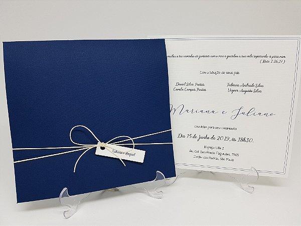 Convite azul marinho casamento