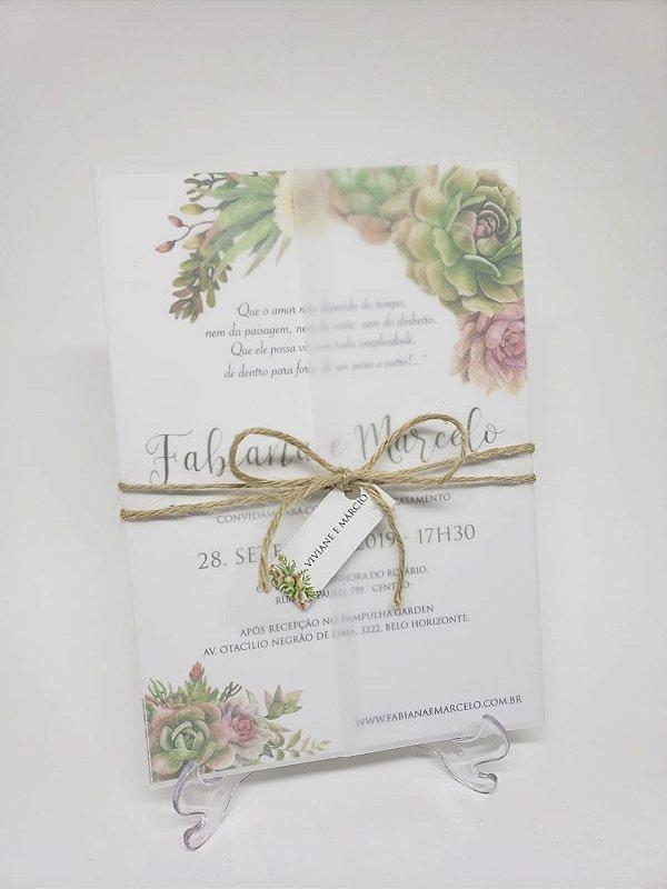 Convite suculentas em papel vegetal