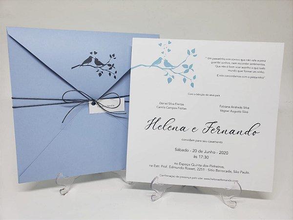 Convite de casamento azul serenity casal passarinhos