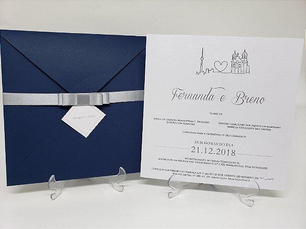 Convite casamento azul e prata