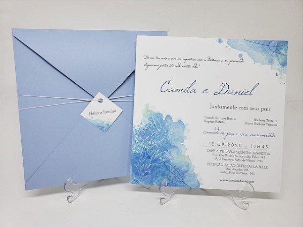Convite casamento azul serenity em aquarela