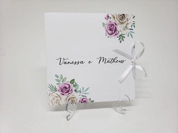 Convite de casamento flores tons pasteis