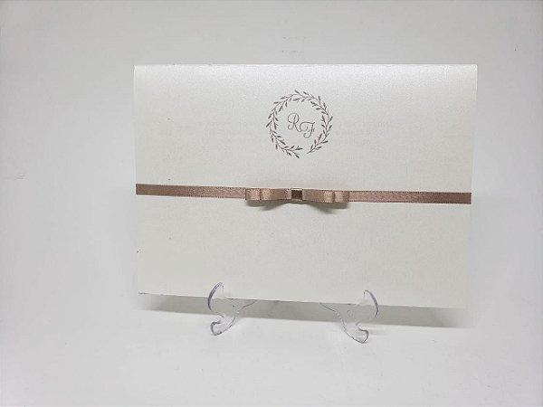 Convite casamento classico minimalista nude