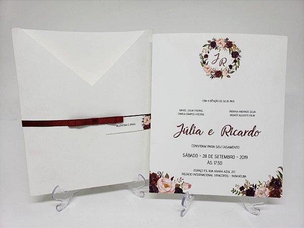 Convite casamento branco e marsala